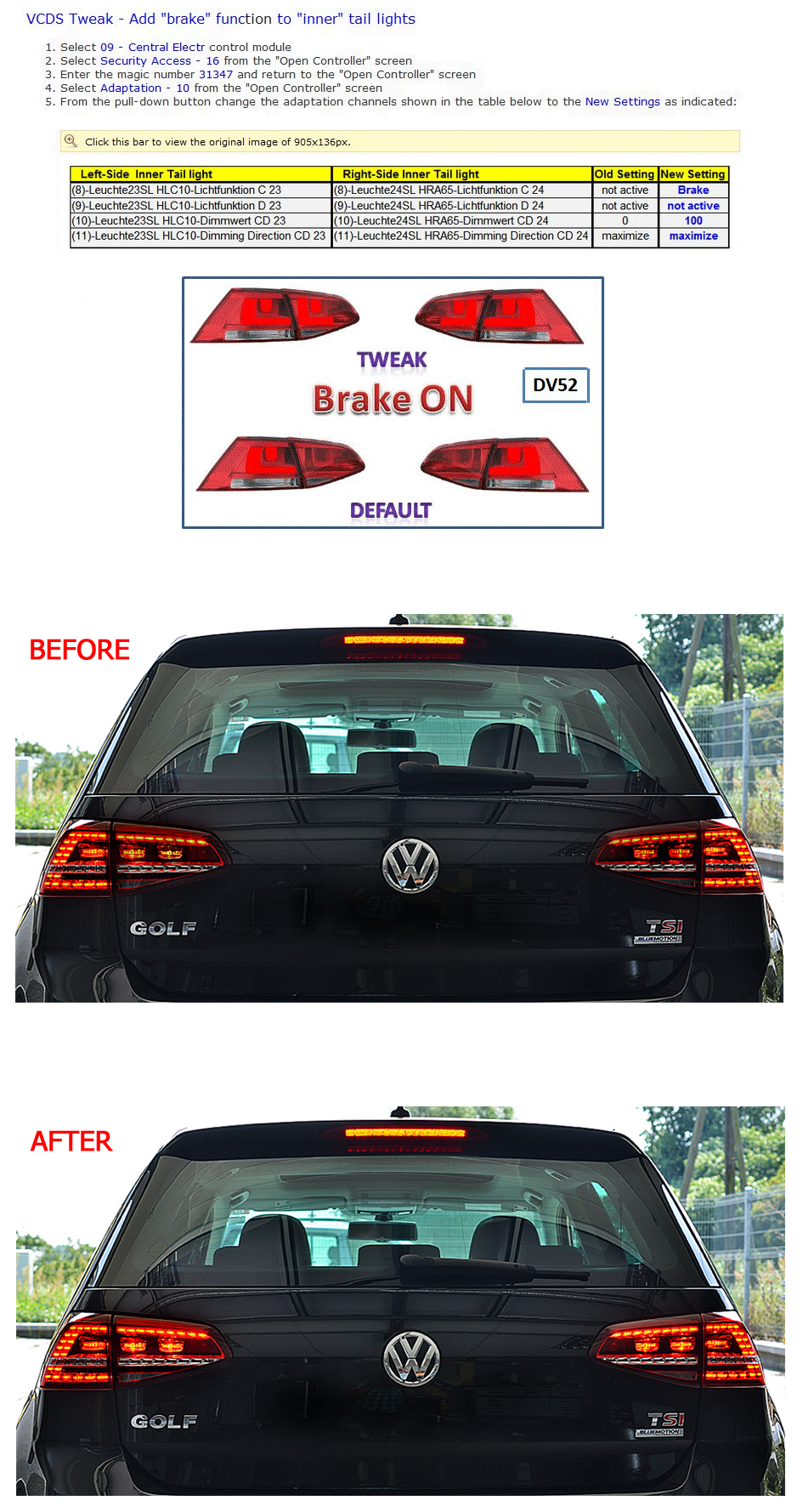 Support Vw Touran Wiring Diagram Pdf Golf Mk 7 Led Tailights How To Add Brake Function Inner Lights Coding Instructions